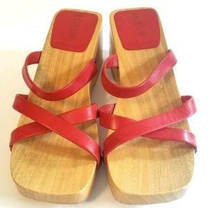 J.CREW made in Italy women sz 6  wood wedge sandal